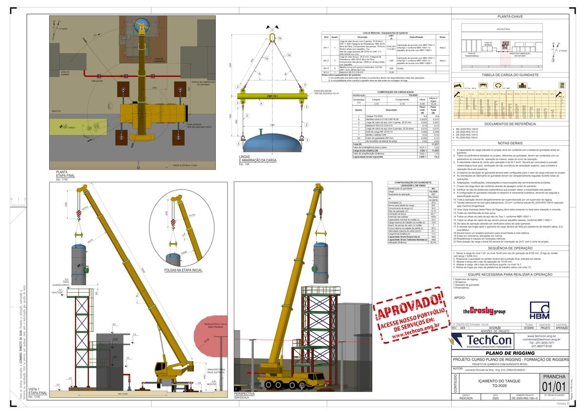 Plano de rigging 3D para içamento de tanque